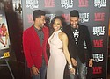 """Actress Candice Roach poses with twins Dominic and Stef at """"Hustle & Souls"""" red carpet opening held at the Cutting Room."""