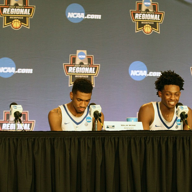 Malik Monk and De'Aaron Fox of Kentucky talking to media at the press conference after the game.