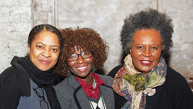 "(l-r) Boston Poet Laureate Danielle Legros Georges, Boston Chief Resilience Officer Atyia Martin, and author and MacArthur ""Genius"" Fellow Claudia Rankine at the Emerson/Cutler Majestic Theatre, where Rankine delivered her talk ""On Whiteness"" on March 24."