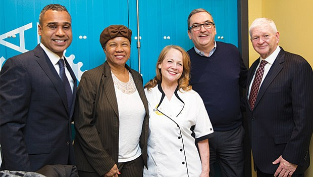 Dennis Benzan, co-owner of La Fabrica and former Vice-Mayor and City Councilor of the City of Cambridge;  Denise Simmons, current President of City of Cambridge; La Fabrica Executive Chef Ciovanna Huyke; David P. Maher, current City Councilor for the City of Cambridge; and Timothy J. Toomey, Jr. current City Councilor of the City of Cambridge.