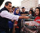 """The Show"" host Bassem Youssef interviews subjects in Cairo."
