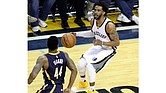 Mike Conley of the Grizzlies sets up Jeff Teague of the Pacers and eventually shoots a 3 pointer on him.