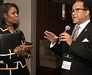 NNPA President and CEO Dr. Benjamin F. Chavis Jr. discusses a prospective interview with Omarosa Manigault during an exchange at a Black Press Week gathering on March 23 in Washington, DC. 