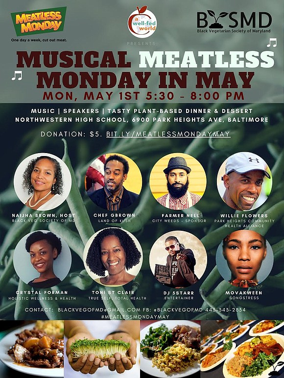 "On Monday, May 1st, A Well-Fed World presents the first-ever ""Musical Meatless Monday"" at Northwestern High School, 6900 Park Heights ..."