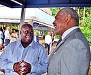 USVI Governor Kenneth Mapp (left) with Arnold Donald, CEO of Carnival Corporation, in Florida