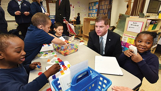 Mayor Martin J. Walsh and city education stakeholders announced on Tuesday a new learning collaborative joining together Boston Public Schools, charter and Catholic schools in Boston to share and support best teaching practices and professional development across city school sectors. Mayor Walsh toured the Our Lady of Perpetual Help Mission Grammar School during the event and had a chance to meet students in their classrooms.