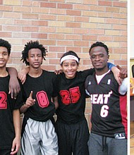 "(from left to right) The Plaza Park Boys' basketball team, comprised of youth from the Plaza Townhomes apartment community in north Portland, was funded entirely by scholarships from the non-profit group ""Off the Sideline.""  Their Plaza Townhomes apartments community has rallied behind them, and the team lost just one game this season. Stanley struggled academically as a member of the Volunteers of America Oregon community over the past few years, but turned his grades around to As and Bs since jumping at the chance to play football. The non-profit group ""Off the Sideline"" is helping at-risk youth like Stanley participate in school-based sports and after school activities."