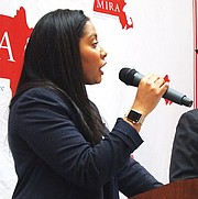 State Rep. Juana Matias, a sponsor of the Safe Communities Act, spoke during MIRA's day of action.