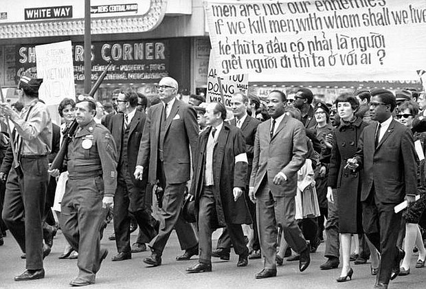 Chicago 1968, Dr. Martin Luther King, Jr. marches against the Vietnam War.