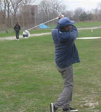 Eugene Taylor has been golfing since 1973. Taylor says he can't believe that he is still alive to witness the beginning stages of the first Black presidential library on the south side of Chicago in Jackson Park. Photo by Christopher Shuttlesworth
