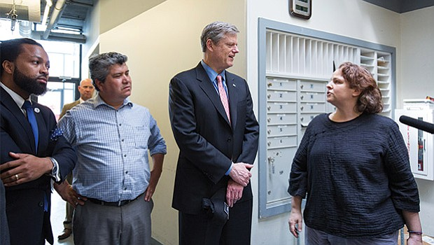 Governor Charlie Baker, here with Dudley St. Neighborhood Initiative Executive Director Juan Leyton and CommonWealth Kitchen Executive Director Jen Faigel, toured the Dorchester food business incubator and commercial kitchen that provides shared commissary space and manufacturing capacity to entrepreneurs with food-based ventures. CommonWealth kitchen hosts over 55 businesses, employing over 200 workers. Since 2015, the Baker-Polito Administration has supported CommonWealth Kitchen's growth by providing the nonprofit organization with over $300,000 in capital equipment grants from the Executive Office of Energy and Environmental Affairs. CommonWealth Kitchen and the Dudley Street Neighborhood Initiative are also core partners in a $200,000 project, funded through the administration's Urban Agenda Economic Development grant program, to facilitate the launch of small local food manufacturing businesses.