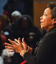 83rd Attorney General of the United States Loretta Lynch was guest speaker at Harvard Kennedy School Black Policy Conference. Christopher Robichaud, lecturer in ethics and public policy, was moderator.