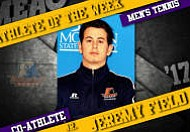 Morgan State junior Jeremy Field and Bethune-Cookman senior Alvaro Barrera were named Mid-Eastern Athletic Conference (MEAC) Men's Tennis Co-Players of the Week,