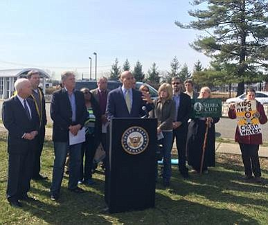 In New Brunswick, N.J., outside of the Environmental Protection Agency Edison Environmental Center, U.S. Sen. Cory Booker, Rep. Frank Pallone, ...