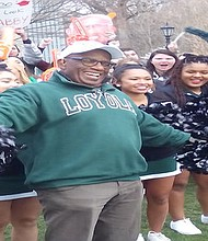 Al Roker with Loyola University Maryland Cheering Squad rallying the crowd before they attempt to break the Guinness World Record for the largest number of crab walkers