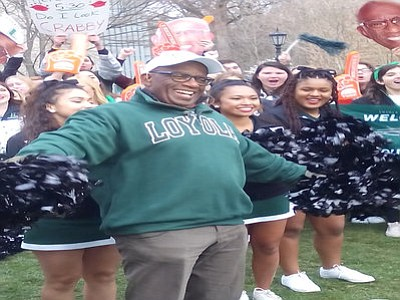 Al Roker with Loyola University Maryland Cheering Squad rallying the crowd before they attempt to break the Guinness World Record ...