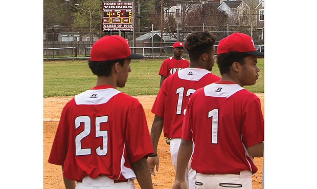 Thomas Jefferson High School baseball players enjoy the new electronic scoreboard at the West End school's field thanks to the Thomas Jefferson Class of 1964 and the TJ Viking Fund stepping up to the plate with fundraising efforts.