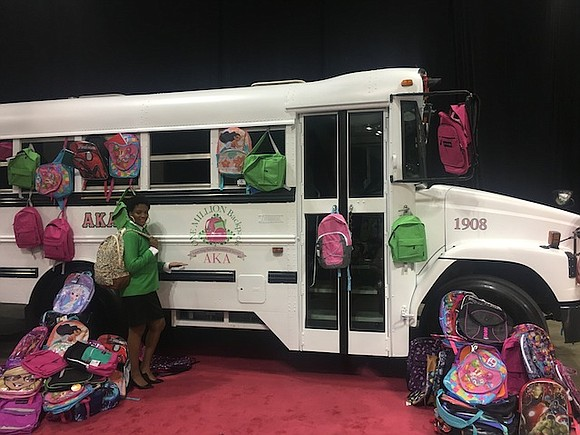 The One Million Backpacks Committee, chaired by Ava Logans Clark, of the Xi Alpha Omega (XAO) Chapter of Alpha Kappa ...