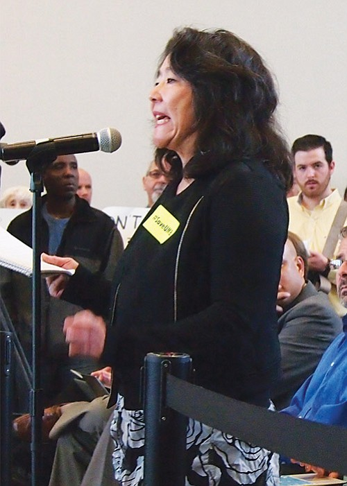 Economics Professor and UMass Faculty Union President Marlene Kim addresses the UMass Board of Trustees.