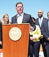 Mayor Martin Walsh unveiled his capital budget proposal to a gathering in East Boston's Central Square last week.
