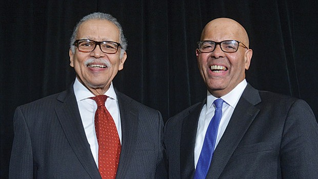 More than 300 people attended the first annual Awards Luncheon & 42nd Anniversary of the Greater New England Minority Supplier Development Council (GNEMSDC) at the Sheraton Framingham Hotel. The event honored champions of supplier diversity including (left) Melvin Miller, Publisher and Editor of the Bay State Banner, who received the GNEMSDC's President's Award from Peter Hurst, Council President & CEO.