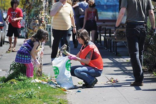 Friends and neighbors and other volunteers will focus on cleaning up litter, clearing storm drains, weeding and mulching at bus ...