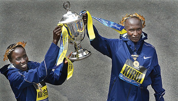 It was a double victory for Kenya in Monday's 121st running of the Boston Marathon. Edna Kiplagat (left) finished the women's division in 2:21:52 and Geoffrey Kirui finished the men's division in 2:09:37.
