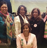 (Left to right) Dr. Nadine Finigan-Carr, Registration Co-Chairman; Arla J. Bently, Vice-Chairman Operations;  Leslie Smith, Vice-Chairman Social; Lavdena A. Orr, Vice Chairman Program; Mona Calhoun, Secretary; and Monica L. White, Registration Chairman. Tracey Barbour-Gillett (seated), Chairman of the North Atlantic Regional Conference.