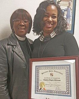 "Pastor Eva Sapp (left), a BPD Chaplain Academy alum with recent graduate Angela ""Angel"" Williams at the commencement ceremony for the BPD Civilian Chaplain Academy's third class."
