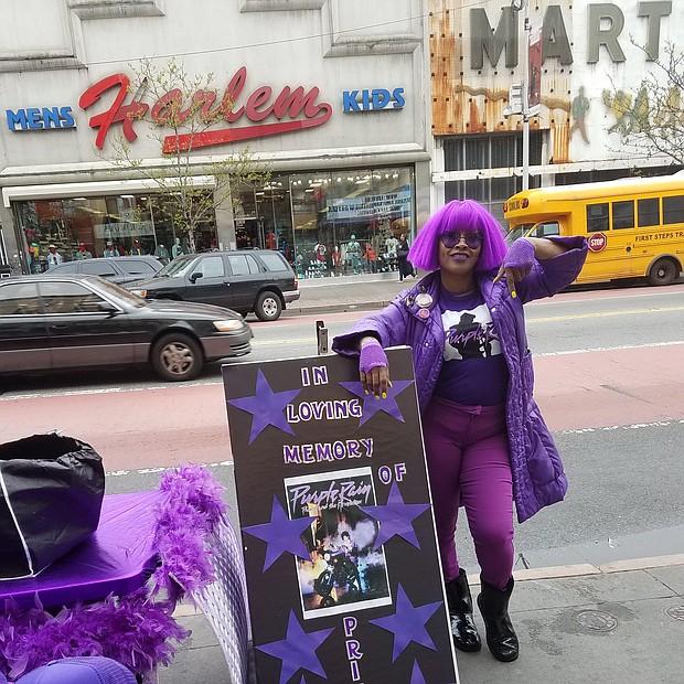 Harlem street vendor and Prince fan Caran Menardy