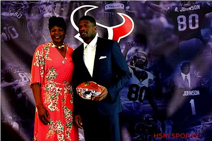 Andre Johnson with his mother