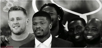 Andre Johnson with his Houston Texans teammates