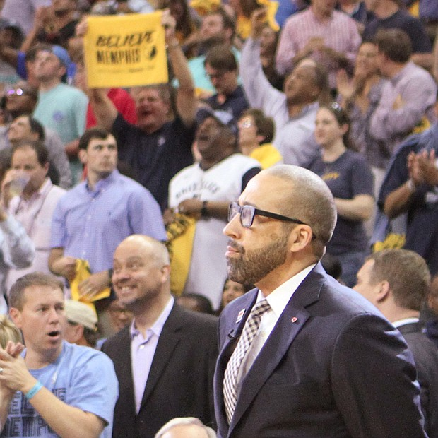 Grizz fans appreciated the way Head Coach David Fizdale stood up for his players after the Game 2 loss and they let him know it as soon as he walked onto the FedExForum Court. (Photo: Warren Roseborough)