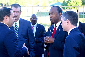 HUD Secretary Ben Carson visits Jubilee Park to meet with city leaders during his stop in Dallas. Stop Six and Southern Dallas were among six aresa in Dallas/Fort Worth he visited to kick off his national listening tour.