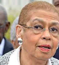 Rep. Eleanor Holmes Norton, (D-D.C.), has led the push for a new GAO report on federal advertising. In this photo, Norton speaks outside of the U.S. Capitol during a joint press conference between NNPA and NAHP in March 2016. (Freddie Allen/AMG/NNPA)