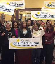 Pictured center, Sheila Chalmers-Currin, who served as a Village trustee for eight years, has now been elected as the first female African American Village President in Matteson, Illinois. Chalmers-Currin, who has lived in Matteson for over 30 years, said she doesn't consider herself a politician but a community advocate who values the voice of the people. Photo Courtesy of Sheila Chalmers-Currin