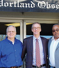 Portland Mayor Ted Wheeler (center) addresses issues of housing affordability, police reform and other topics during a visit to the offices of the Portland Observer. Welcoming the mayor are Portland Observer Publisher Mark Washington (right) and Editor Michael Leighton.
