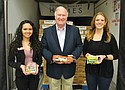 A donation of 25,000 pounds of protein products from Smithfield Foods and Fred Meyer is donated to the Oregon Food Bank to help hungry families in Oregon and southwest Washington. Pictured (from left) are Mariah Gonzalez of Fred Meyer; Dennis Pittman of Smithfield Foods and Katie Pearmine of the Oregon Food Bank.