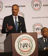 Former Attorney General  Eric Holder at the National Action Network National Convention