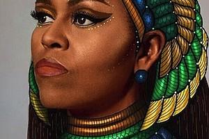 Portrait of former First Lady Michelle Obama by Rhode Island art student Gelila Mesfin.