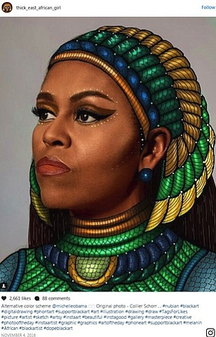 A new mural of former first lady Michelle Obama, painted on a building in the Chicago neighborhood where she lived ...