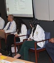 Jaire Saunders, Student Panelist, responds to audience questions. Panel Program was facilitated by Emma Simmons, MD, SOM Associate Dean, Student Services. (Photo Credit: John Coleman)