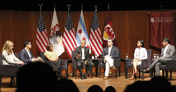 Former President Barack Obama met Sunday with at-risk young men and boys in his hometown of Chicago before his first ...