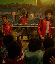 """The cast of """"The Get Down"""" (L to R) Skylan Brooks, Tremaine Brown Jr., Shameik Moore, Justice Smith and Jaden Smith"""