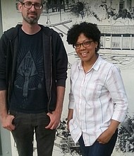 "(Left) Artists Andrew Keiper and Tiffany Jones whose work is part of the ""Everyday Utopias"" art installation on display in Druid Hill Park in Baltimore City until Sunday, May 7, 2017. (Right) Exhibition entry from Lauren R. Lyde depicting ""swimmers in pool #2 during the 1950s."""