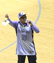 """Memphis hip-hop star Al Kapone leads Grizzlies fans in """"Rook That Trick,"""" a mashup of Coach Fizdales """"not gon' rook us"""" line and Kapone's """"Whoop That Trick!"""" from the movie """"Hustle and Flow."""""""