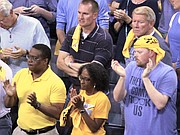 Memphis fans show their appreciation for the Grizzlies' Game-6 effort and season-long push to the NBA Playoffs. (Photo: Warren Roseborough)