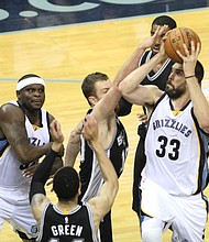 Marc Gasol rumbles to the basket for two of his 18 points.