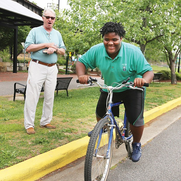Getting his wheels //