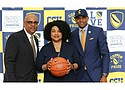 (L-R) Coppin State University Director of Athletics Derek Carter, Appointed President of Coppin State University Dr. Maria Thompson, and Juan Dixon newly appointed Men's Basketball Coach.